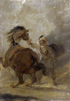 A Man holding a Horse