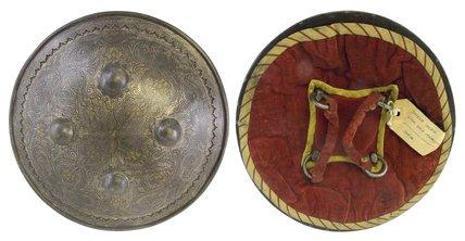 Indian silver gilt shield