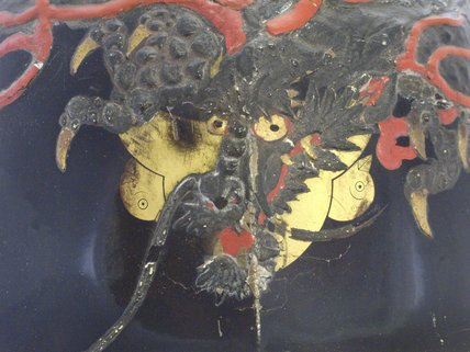 Japanese riding helmet Dragon detail