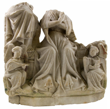 Painted alabaster of seated female figure