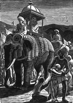 The Queen on the Elephant b&w