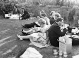 Audience members picnicking at the Glyndebourne Festival Opera