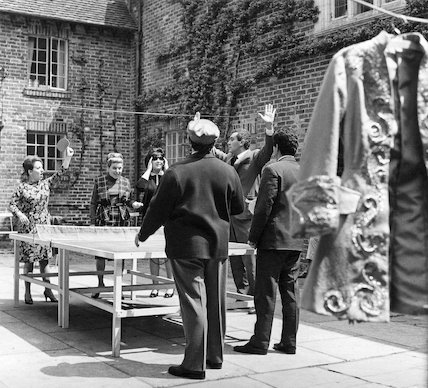 Opera singers relax with a game of table tennis at Glyndebourne Opera House