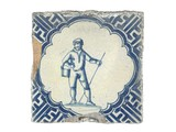 Tin-glazed earthenware wall tile: c. 1621-1660
