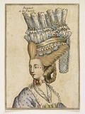 A coloured print of a woman's head and shoulders; 1778