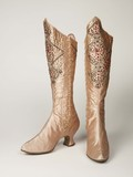 Pink silk satin stage boots worn by the music hall variety artiste Kitty Lord: c. 1895-1914