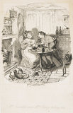 Mr Bumble and Mrs Corney taking tea: 1838
