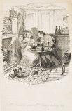 Mr Bumble and Mrs Corney taking tea: 1838
