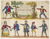 Toy theatre sheet representing key characters forom Oliver Twist: c.1870