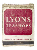 Complimentary matchbook from J Lyons; c 1945