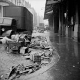 Rubbish piles near Billingsgate Market: 1958