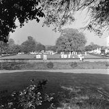 A bowling game being played on a bowling green in Twickenham.; 1965