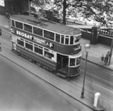 A number 33 tram travelling along the Embankment. c.1955
