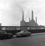 Two parked cars with Battersea Power Station in the background. c.1955