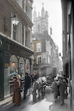 Composite photograph showing a contemporary and historical view of Bow Lane c.1930