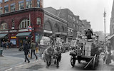 Composite photograph showing a contemporary and historical view of Covent Garden c.1930 + 2014