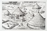 Reconstruction drawing of an Iron Age settlement c. 400 – 150 BC