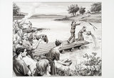 Reconstruction drawing of a Bronze Age community placing offerings in the River Thames