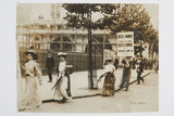 Poster parade of Suffragettes announcing a demonstration to be h