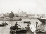 Upper Pool of the Thames c. 1885: Watermen plying for hire opposite the Tower of London