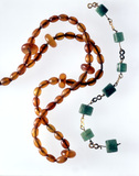 Roman amber and emerald necklaces