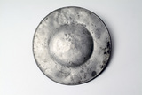 Reverse of broad rimmed pewter plate: 16- 17th century