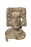 Tin mount in the shape of a woman's head: 15th - 16th century