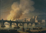 Westminster Bridge and the Burning of the Houses of Parliament from Lambeth: 1835