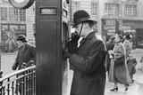 Policeman at police telephone box: 1953