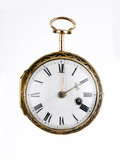 Front of a gold and enamel cased cylinder watch: 18th century