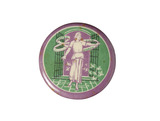 Purple, white and green circular tin badge: 1908-1914