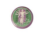 Purple, white and green circular tin badge: 1908-1914