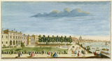A perspective view of ye Royal Palace of Somerset next ye river: 1742