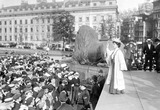 Emmeline Pankhurst addressing a meeting in Trafalgar Square:1908