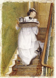 Maidservant carrying a breakfast tray: 1873