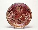 Decorated red lustre plate: 19th century