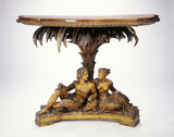 Rosewood and papier mache table: 19th century