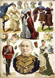 Scrapbook page with portraits of Queen Victoria, William Gladstone, Duke and Duchess of Connaught: 19th century