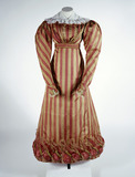 Cherry coloured striped silk morning dress: 19th century