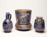 Selection of three blue glaze Doulton stoneware jugs: 19th century