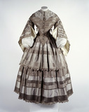 Taffeta dress with flounced skirt: 19th century