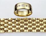 Gold bangle and bracelet: 19th century
