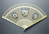 Ivory fretwork fan with painted scenes: 18th century