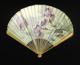 Amber and silk fan: 19th century
