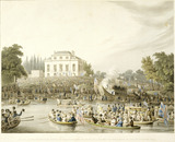 Arrival at Brandenburgh House of the Watermen &c. with an Address to the Queen on the 3d. October 1820