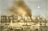 The Great Fire in Tooley Street from Nicholson's Wharf: 1861
