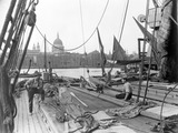 Sailing barge at Greenmoor Wharf, Bankside: 20th century