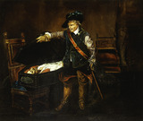 Cromwell gazing at the body of Charles I: 19th century