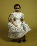 Doll with wax head and shoulders: 19th century