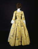 Silk and linen dress, back view: 18th century